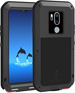 LOVE MEI LG G7 ThinQ Case Bulid in Tempered Glass Screen Protector [Powerful Series] Shockproof Dustproof Scratch Proof Hybrid Metal and Silicone Super Heavy Duty Tank Hard Case for LG G7 ThinQ Black