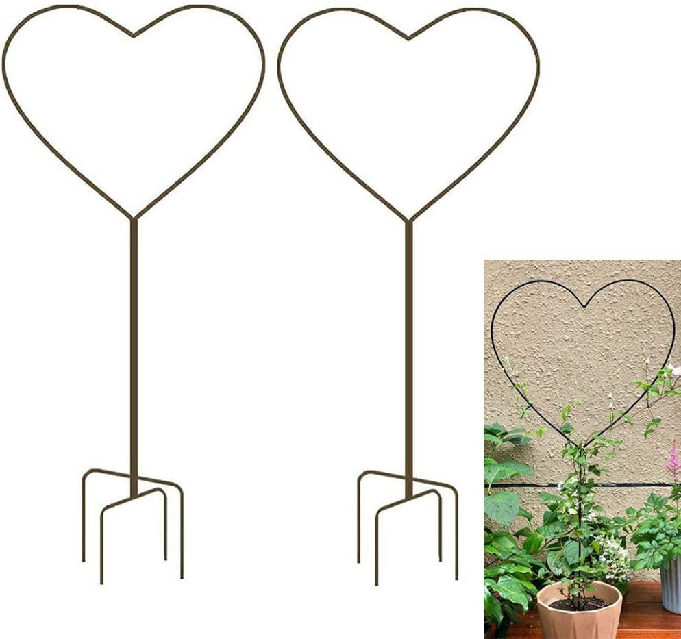 XMRSOY 2 Pack 34Inch Garden Trellis for Climbing Plants, Meatal Heart Shape Plant Support Decorative Plant Trellis Potted Vines Vegetables Flowers Rose Jasmine Pea Clematis Ivy Cucumbers