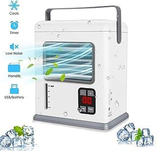 Wonepic acondicionador de Aire portátil Ventilador Espacio Personal del refrigerador de Aire silencioso Ventilador del Escritorio del Mini refrigerador evaporativo batería o USB para Dormitorio