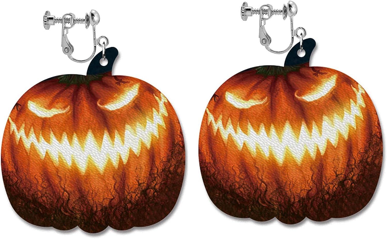 Halloween Clip on Earrings no Pierced PU Leather Pumpkin Drop Dangle Earring Fashion Jewelry for Women Girls