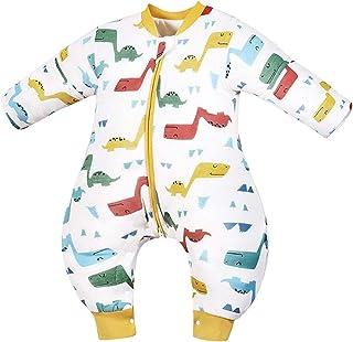 Saco de Dormir de Bebé con Piernas Invierno Bolsa de Dormir Algodón Desmontable Manga para Niños Niñas 2.5 Tog Mameluco Pijamas, 2-3 Años