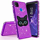 Miagon for Xiaomi Redmi 9C Glitter Case,3D Cute Cat Electroplating Bling Diamond Soft TPU Silicone Shockproof Shiny Sparkle Case Cover