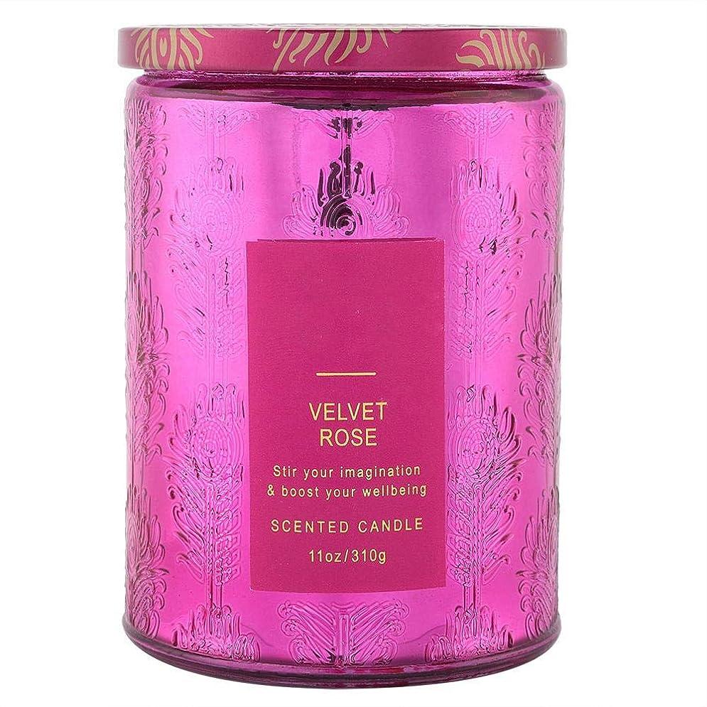 ヒューズダイヤモンドインチ大豆キャンドルエッセンシャルオイル、繊細な香りのキャンドル甘い花の香りワックスローズキャンドルクリアガラスボトル付き