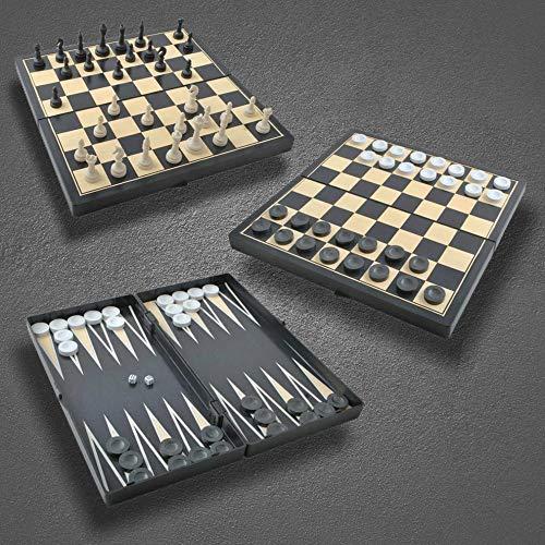 Megaprom 3-in-1 Schachspiel, Damespiel, Backgammonspiel, Schach, Dame, Backgammon, Brettspiel, Spielset inkl. Spielbrett