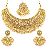 Sukkhi Traditional Pearl Gold Plated Wedding Jewellery LCT Stone Choker Necklace Set For Women (N72392ADHT112017)