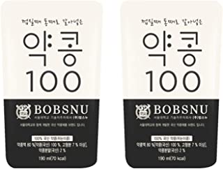 Korean Bobsnu No Sugar Added Premium 100% Real Bean Soy Milk Pack 약콩 두유 6.4oz (2 Pack)