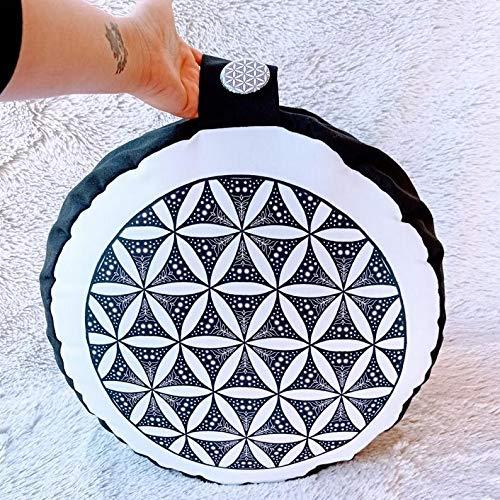 Zafu, cojín de meditación Blanco y Negro con Mandala Inspirado en la Flor de la Vida diseñado por floresyabejas