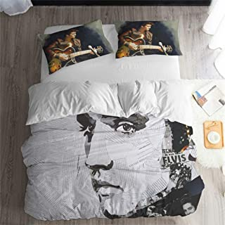 LanS The Beatles Rock Music Series Bedding Set, Duvet Cover and Pillowcase, Bedroom Three-Piece Bedding (Duvet Cover + 2 Pillowcases) Twin, Full, Queen, King Bed (G, Queen-228×228cm)