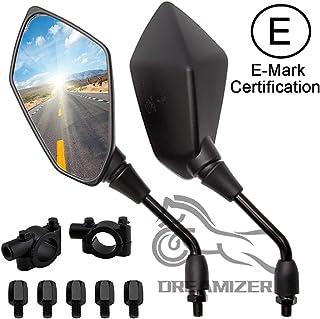 DREAMIZER 8mm 10mm Motorfiets Achteruitkijkspiegels, Motorfiets Zijspiegel met 22mm Stuur Klem Vervanging voor Street Bike...