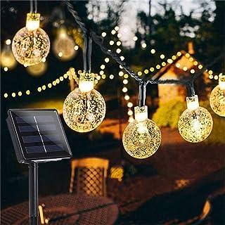 Garden Solar Lights, 50 LED 24ft 8 Modes Waterproof String Lights Outdoor Fairy Lights Globe Crystal Balls Decorative Lighting for Garden Yard Home Party Wedding Christmas Decoration (Warm White)