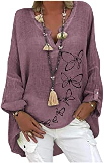 Women Blouses Summer Tops Short/Long Sleeve V Neck Solid Color Casual Button Down Shirts Loose Blouse T-shirt
