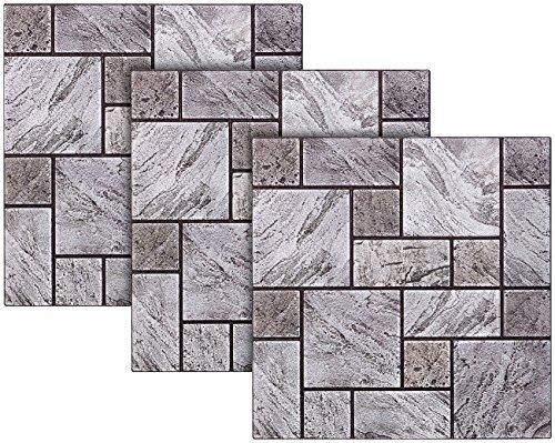 infactory Fliese: Selbstklebende 3D-Steinwandoptik-Fliesenaufkleber, 30 x 30 cm, 3er-Set (Mosaik-Fliesen-Aufkleber)
