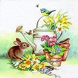 20 servilletas de animales de regadera / conejo / flores / primavera / Pascua, 33 x 33 cm