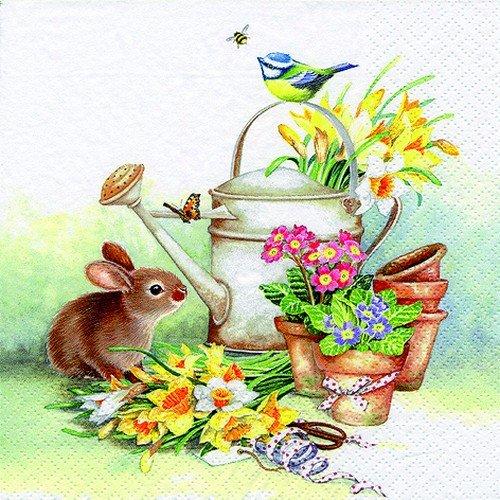 20 servetten dieren aan gieter/haas/bloemen/lente/Pasen 33x33cm
