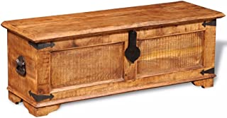 vidaXL Rustic Storage Chest Trunk Handmade Unique Coffee Table Rough Mango Solid Wood