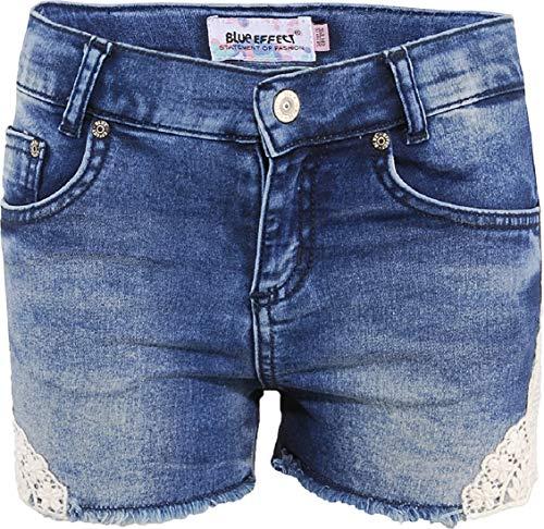 Blue Effect Mädchen Jeans Short mit Spitzeneinsatz, Regular, Blau (Blue Denim 9870) 128