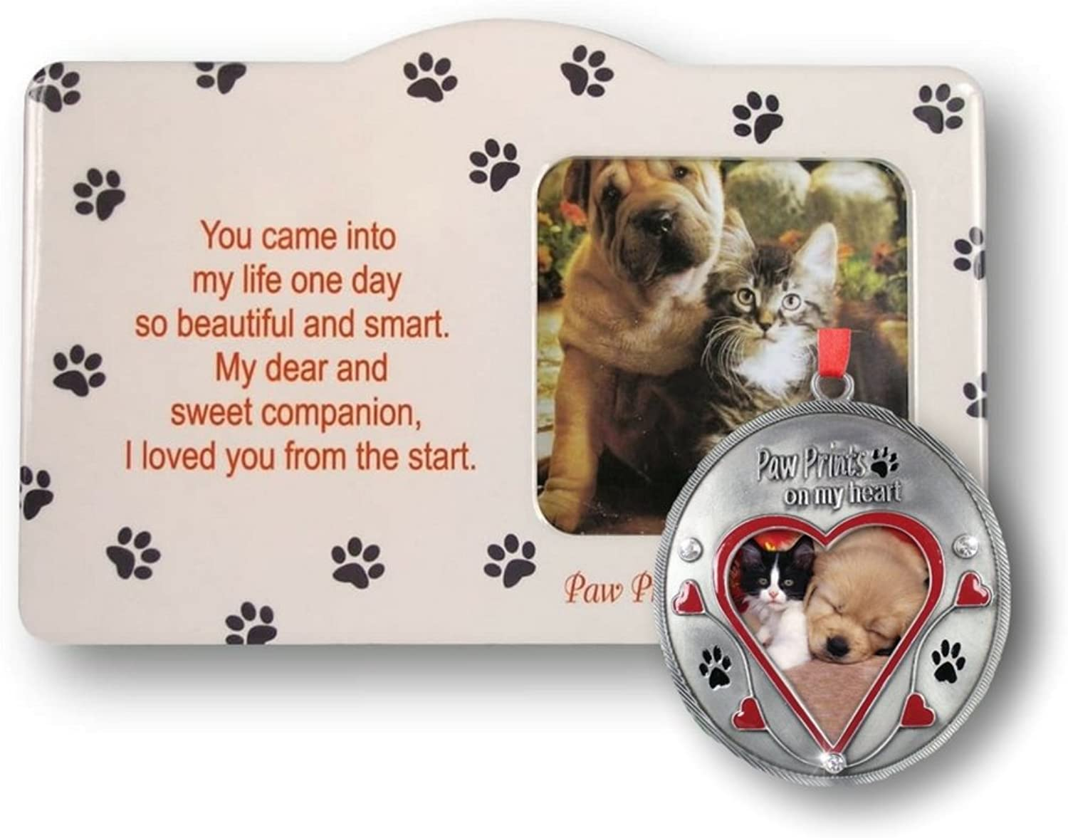 Pet Keepsake Picture Frame and Ornament Set  Paw Prints on My Heart Frame  Loving Memory Dog or Cat Memorial Christmas Ornament