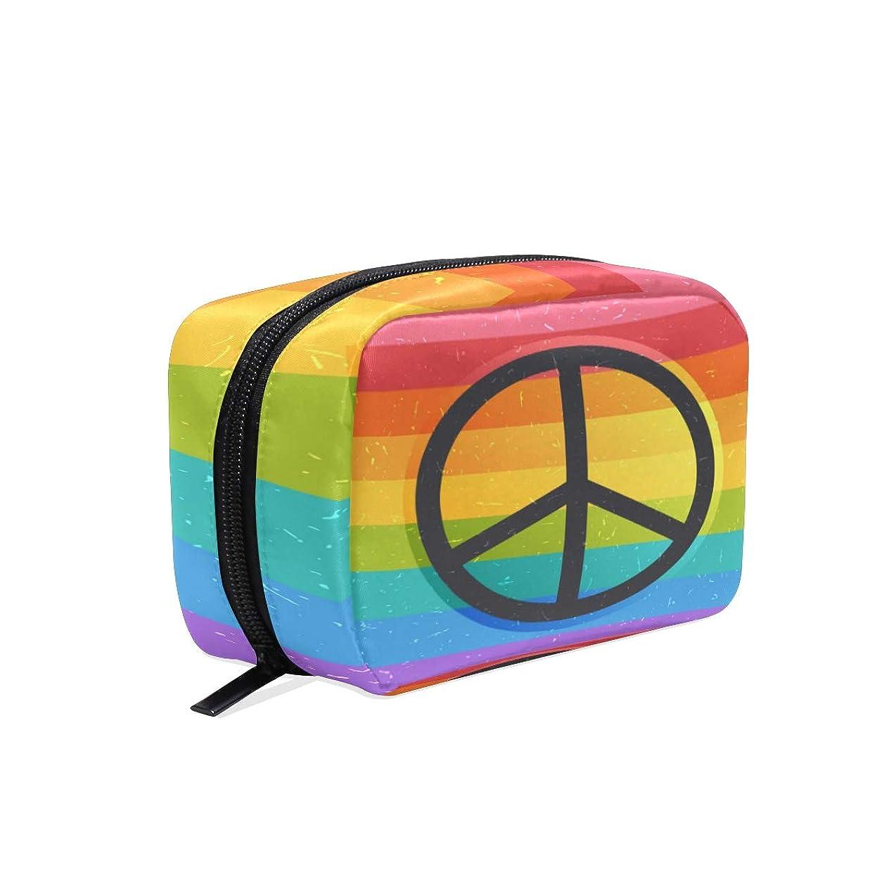 無意識到着前にUOOYA おしゃれ 化粧ポーチ ピースサイン 平和 虹柄 Peace Sign 軽量 持ち歩き メイクポーチ 人気 小物入れ 収納バッグ 通学 通勤 旅行用 プレゼント用