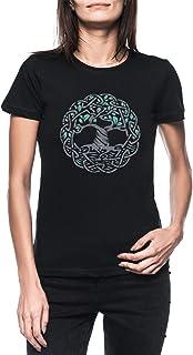 Céltico Árbol De Vida Mujer Negro Camiseta Manga Corta Women's Black T-Shirt