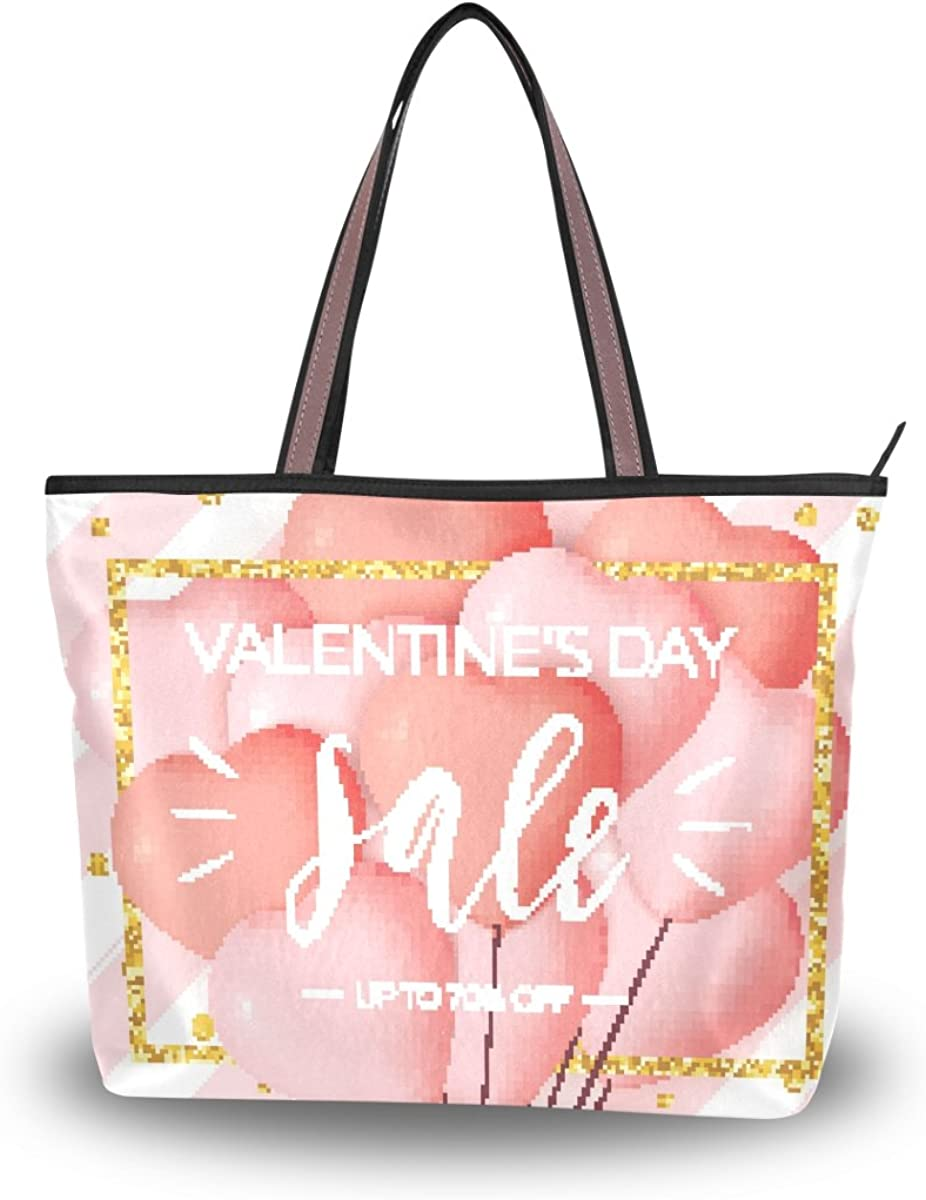 JSTEL Women Large Tote Top Handle Shoulder Bags Happy Valentine's Day Patern Ladies Handbag