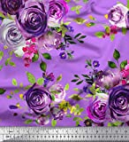 Soimoi Rosa Poly Georgette Stoff Blätter & Rose Blume