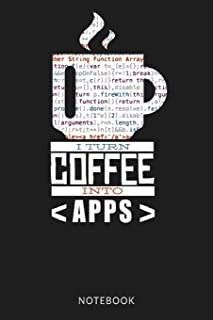 I TURN COFFEE INTO APPS NOTEBOOK: Web Application App Review Log book Tracker - Funny Coffee Coding Cover
