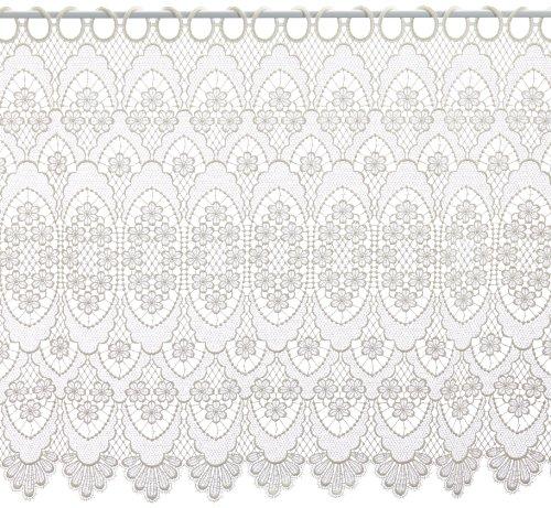 Plauener Spitze by Modespitze, Store Bistro Gardine Scheibengardine mit Stangendurchzug, hochwertige Stickerei, Höhe 60 cm, Breite 96 cm, Creme