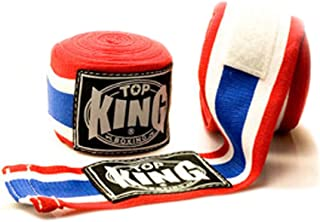 Top King TKHWR-01 Pro Hand Wraps Protector Bandages Cotton for Muay Thai Boxing (Thai Flag)