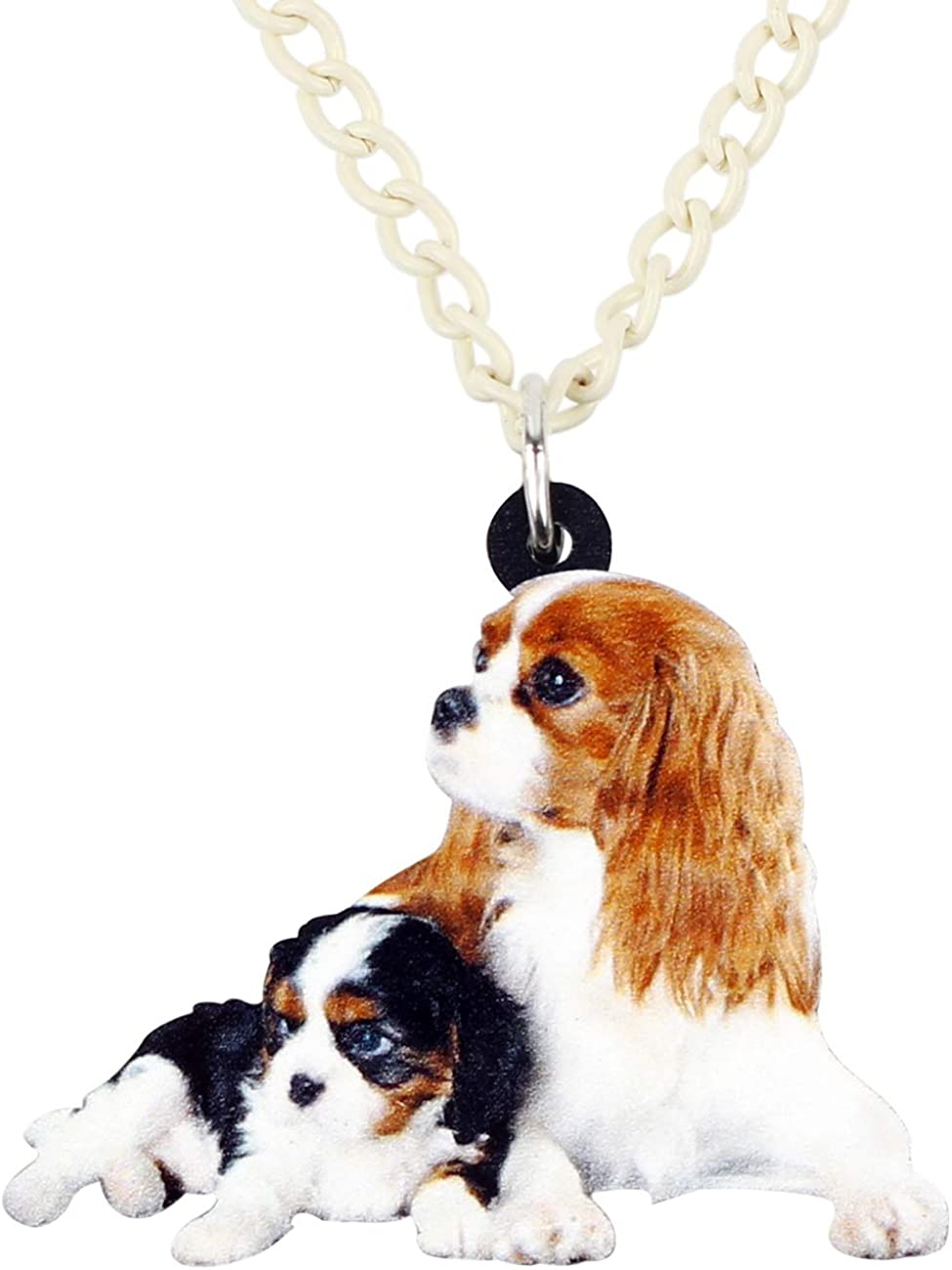 DUOWEI Brown Cavalier King Charles Dog Pendant Necklace Acrylic Cute Pets Jewelry Gifts for Women Girls Teens