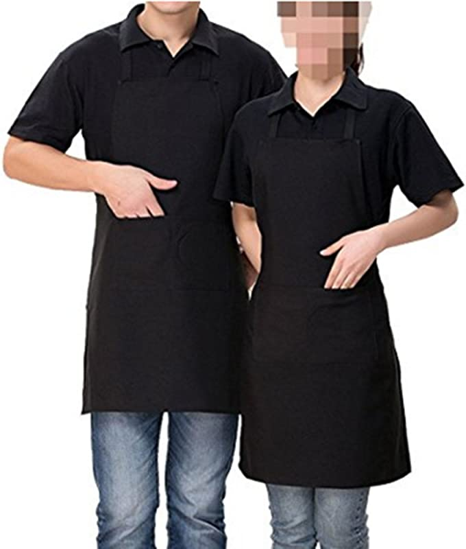 2 Pack Adjustable Bib Apron Waterdrop Resistant With 2 Pockets Cooking Kitchen Aprons For Women Men Chef Coffee Shop Kitchen Bar Bakery Hotel Durable Apron Black
