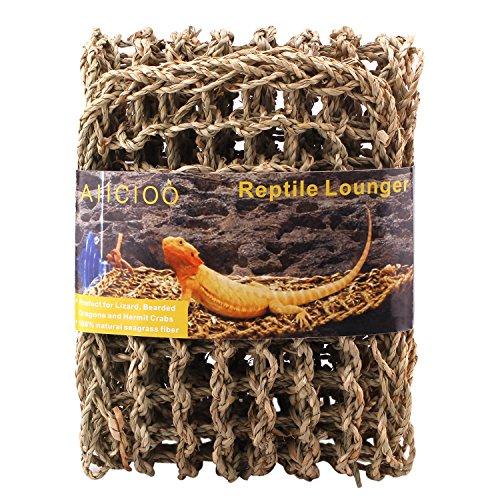 Aiicioo Lizard Hammock Lounger - Bearded Dragon Hammock 100% Natural Seagrass Fibers Ideal for Anoles, Bearded Dragons Geckos, Iguanas & Hermit Crabs (X-Large)