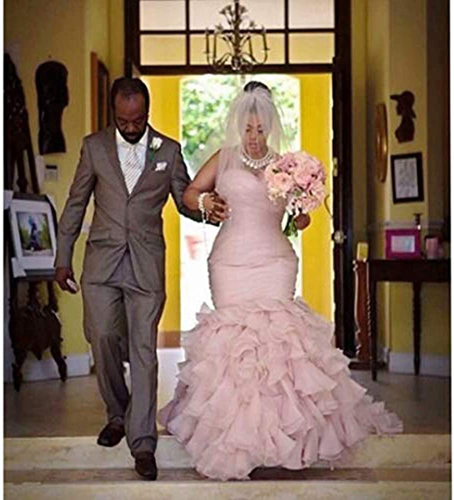 Amazon.com Chady Plus Size Wedding Dress Mermaid 18 Organza ...