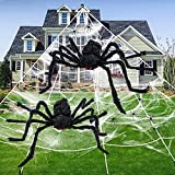 """Halloween Spider Decorations - 200"""" Triangular Spider Webs Decoration + 2 Giant Scary Halloween Spider with Stretch Cobweb Small Spiders, for Halloween Decorations Indoor Outdoor, Yard Lawn Tree Party"""