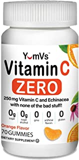 Vitamin C with Echinacea Zero Gummies by YumVs | Keto-Friendly Sugar-Free Supplement for Women & Men | 250 mg Vitamin C + ...