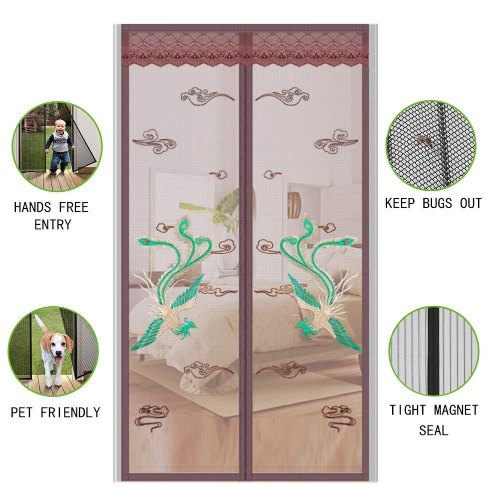Imprimir Mosquitera magnética para puertas cortina Cifrado Manos libres Puerta mosquiter Con Completo marco Gancho y Bucle Gancho Y Lazo Mascota Y Niño Amistoso-marrón 35x87