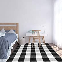 SEEKSEE 100% Cotton Plaid Rugs Black/White Checkered Plaid Rug Hand-Woven Buffalo Checkered Doormat Washable Porch Kitchen...