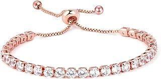 Tennis Bracelet for Women, 14K Rose Gold Plated, Rainbow Series Length Adjustable Slider Bracelet for Women Girls, Inlaid ...