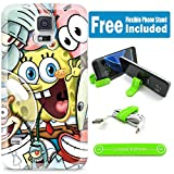 [Ashely Cases] For Samsung Galaxy Note 4 Cover Case Skin with Flexible Phone Stand - Spongebob Friends