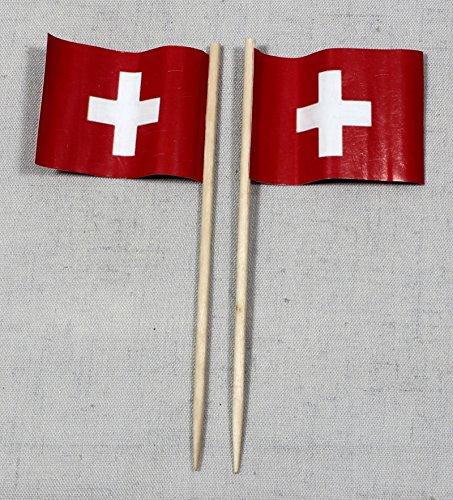 Buddel-Bini Party-Picker Flagge Schweiz rechteckig Papierfähnchen in Profiqualität 50 Stück 8 cm Offsetdruck Riesenauswahl aus eigener Herstellung