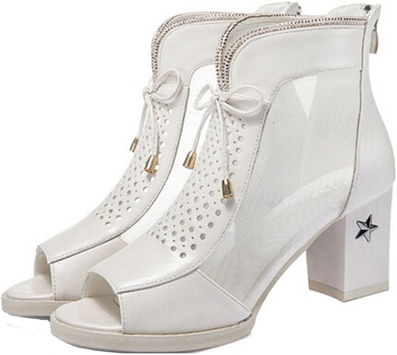 San hojas Thick Heel White Black Sandals Peep Toe Pumps with High Heels