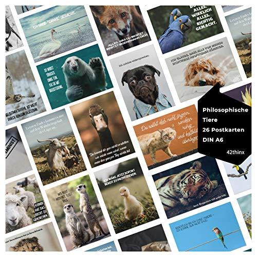 42thinx - Ansichtskarten Set Philosophische Tiere I 26er Postkarten Set mit Sprüchen und Tiermotiven I Chromokarton 300g Papier A6 I Postkarten Postcrossing philosophisch inspirierend & witzig