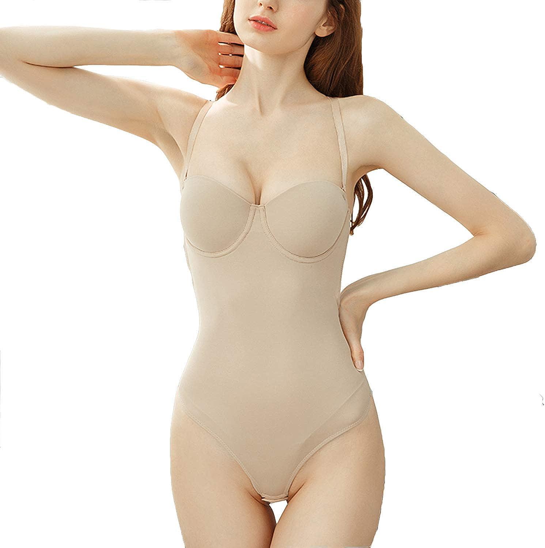 Defitshape Women's Backless Bodysuit Bridal Seamless Shaper Smooth Soft Thong Bra Shapewear