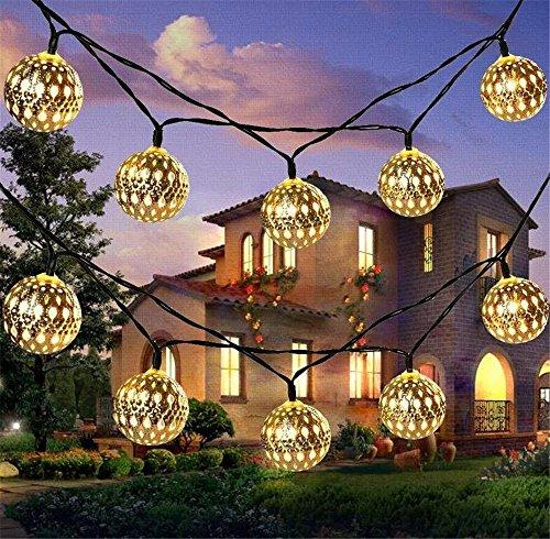 Solar String Lights 20 Maroc boules LED String guirlandes décoratives vacances de Noël lumières guirlandes extérieures décorations de mariage (warm white)