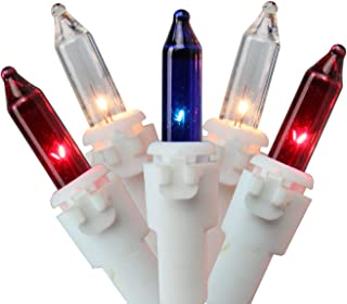 Set of 150 Patriotic Red, Clear and Blue 8 Function Christmas Lights - White Wire