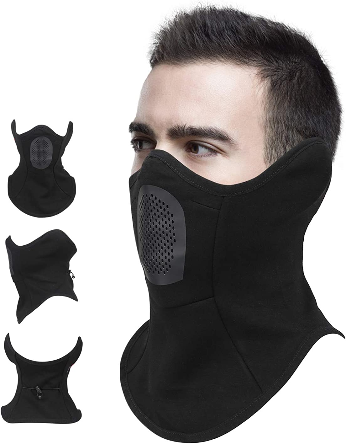 lululeague Half Balaclava Face Mask, Half Face Ski Mask for Running, Skiing, Snowboarding, Motorcycle Riding & Other Sports Protection - Winter Face Mask & Neck Gaiter for Men & Women Mask Black