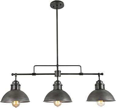 Log Barn Pendant Lighting for Kitchen Island, Black Chandelier in Brushed Antique Dark Metal Finish, Industrial Linear Ceilin