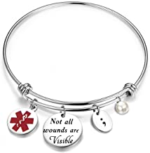 bobauna Not All Wounds are Visible Semicolon Charm Bracelet Mental Health Suicide Awareness Jewelry