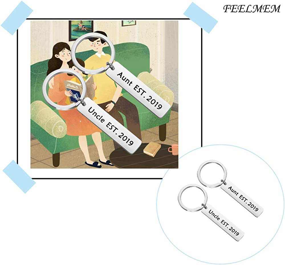 FEELMEM New Aunt//Uncle Gifts Aunt and Uncle Est 2019 Keychain Set Baby Announcement Gift for Aunt to Be Uncle to Be