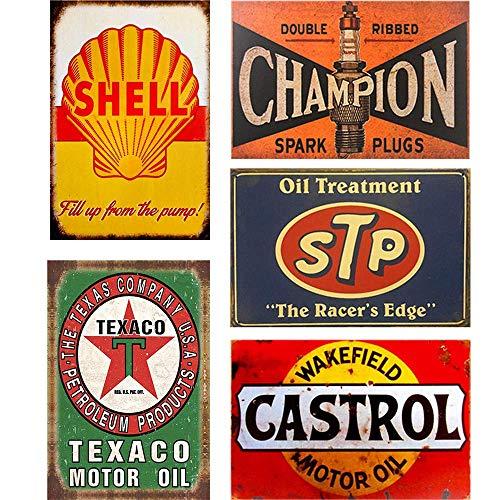uwuzihuisho Retro Blechschilder Shell Texaco STP Valvoline Auto Motorrad Benzin Garage Haus Wanddekoration Metallschilder – 5 Stück #14