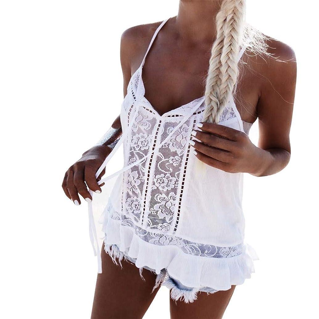 Aniywn Lace Patchwork Vest Women Chiffon Summer Spaghetti Straps T Shirt Sexy Backless Tank Tops